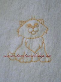 Mosdókesztyű cica hímzéssel DH86 sárga