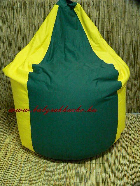 Csepp alakú babzsákfotel sárga-zöld