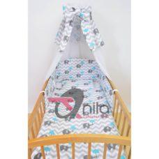 4 részes babaágynemű íves fejvédővel, voile+dekor függönnyel, nagy paplannal K12